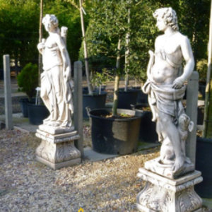 Statue En Pierre Reconstituee Enfant A La Corne Ffbarbecues