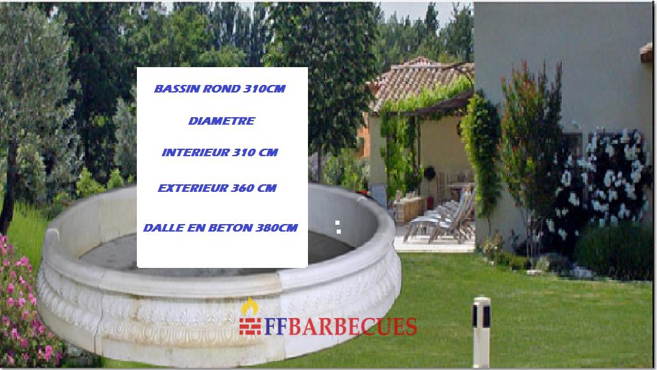 Bassin en pierre reconstitu e rond 310cm ffbarbecues for Bassin en plastique rond