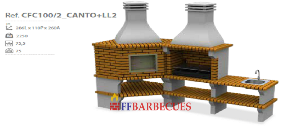 barbecue d angle en brique et beton cfc 100 ll2 ffbarbecues. Black Bedroom Furniture Sets. Home Design Ideas