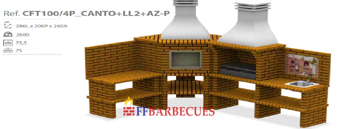 Barbecues d angle en briques et beton cft 100 4p ll2 azp for Barbecue d angle en brique