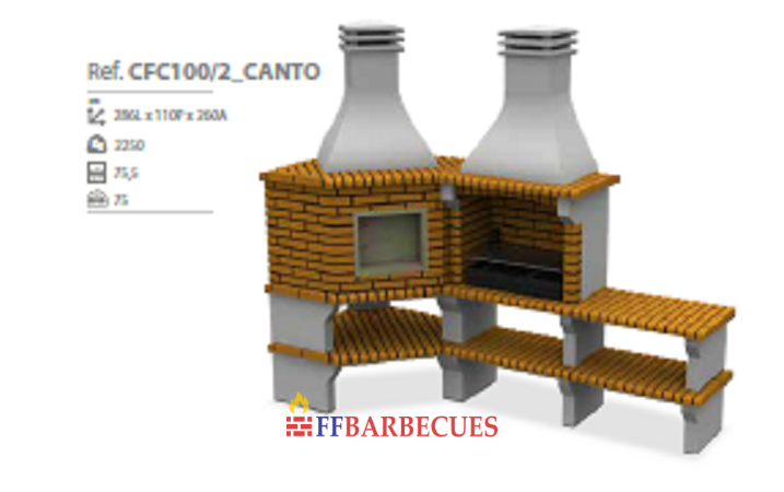 barbecue d angle en brique et beton cfc 100 2 ffbarbecues. Black Bedroom Furniture Sets. Home Design Ideas